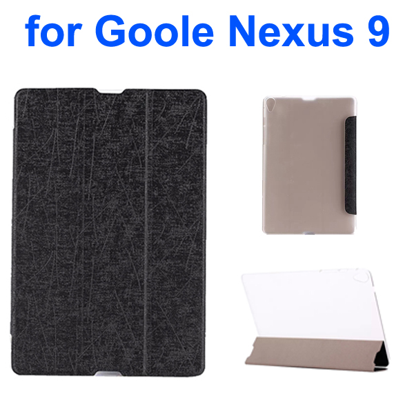 Palm Texture Transparent Back 3-Foliding Leather Case for Google Nexus 9 (Black)