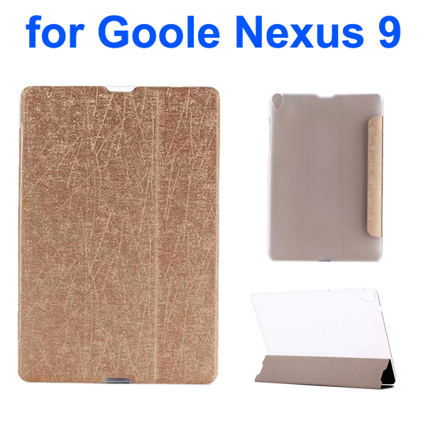 Palm Texture Transparent Back 3-Foliding Leather Case for Google Nexus 9 (Gold)