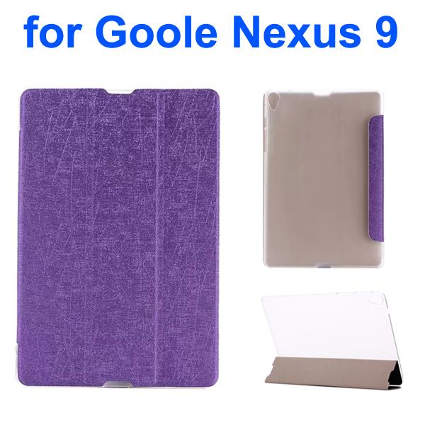Palm Texture Transparent Back 3-Foliding Leather Case for Google Nexus 9 (Purple)