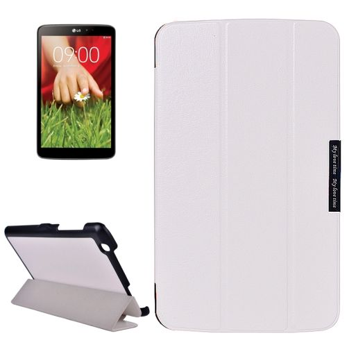 Crazy Texture 3-folding Stand Leather Flip Cover for LG G Pad 8.3 (White)
