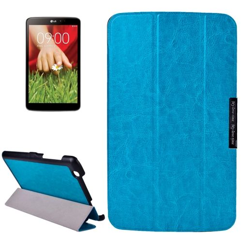 Crazy Texture 3-folding Stand Leather Flip Cover for LG G Pad 8.3 (Blue)