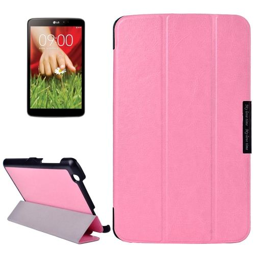 Crazy Texture 3-folding Stand Leather Flip Cover for LG G Pad 8.3 (Pink)