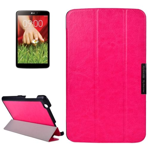 Crazy Texture 3-folding Stand Leather Flip Cover for LG G Pad 8.3 (Rose)