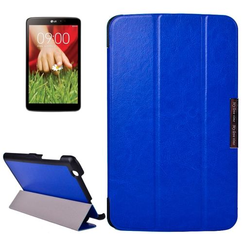 Crazy Texture 3-folding Stand Leather Flip Cover for LG G Pad 8.3 (Dark Blue)