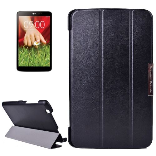 Crazy Texture 3-folding Stand Leather Flip Cover for LG G Pad 8.3 (Black)