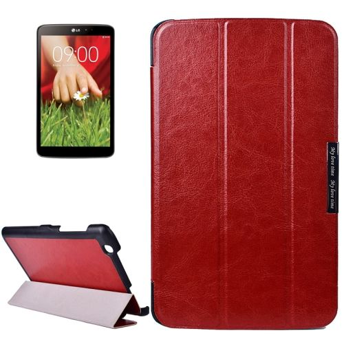 Crazy Texture 3-folding Stand Leather Flip Cover for LG G Pad 8.3 (Brown)
