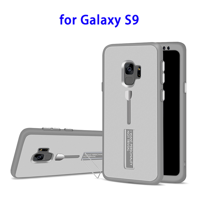 2 in 1 PC and TPU Hybrid Case for Samsung S9 with Ring Holder (Silver)