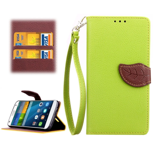 Leaf Magnetic Snap Litchi Texture Horizontal Flip Leather Case for Huawei Ascend G7 (Green)