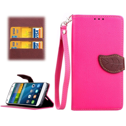 Leaf Magnetic Snap Litchi Texture Horizontal Flip Leather Case for Huawei Ascend G7 (Rose)