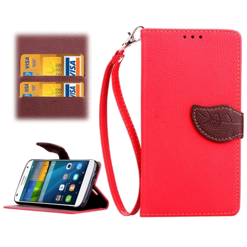 Leaf Magnetic Snap Litchi Texture Horizontal Flip Leather Case for Huawei Ascend G7 (Red)