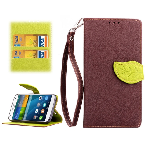 Leaf Magnetic Snap Litchi Texture Horizontal Flip Leather Case for Huawei Ascend G7 (Brown)