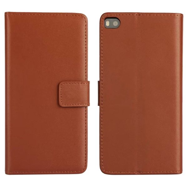 Plain Texture Flip Stand Genuine Leather Case for Huawei Ascend P8 (Brown)