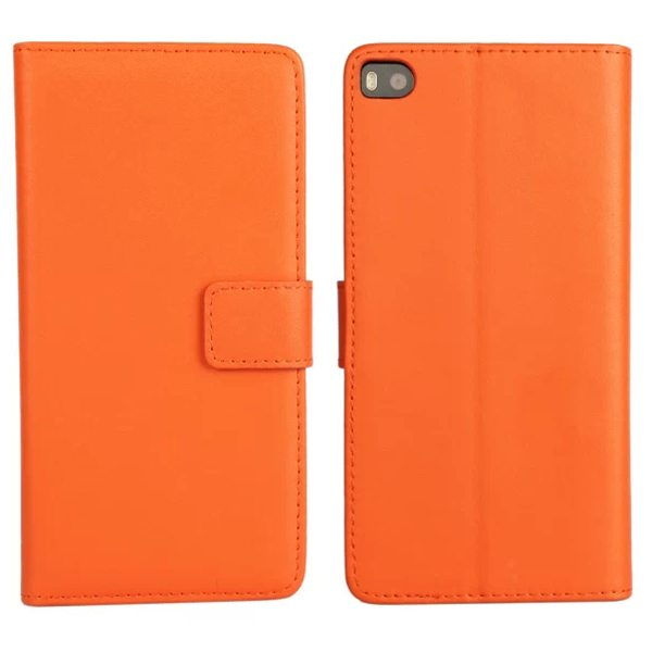 Plain Texture Flip Stand Genuine Leather Case for Huawei Ascend P8 (Orange)
