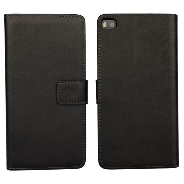 Plain Texture Flip Stand Genuine Leather Case for Huawei Ascend P8 (Black)