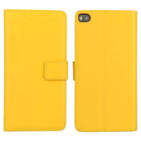 Plain Texture Flip Stand Genuine Leather Case for Huawei Ascend P8 (Yellow)