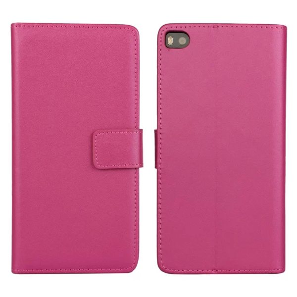Plain Texture Flip Stand Genuine Leather Case for Huawei Ascend P8 (Rose)
