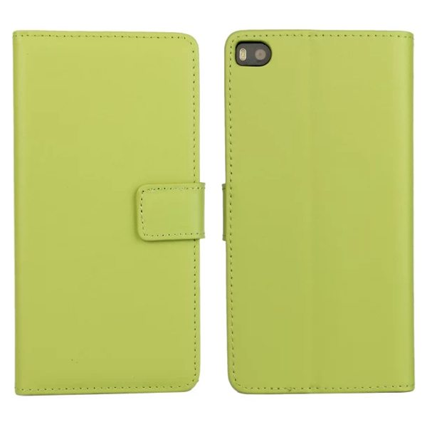 Plain Texture Flip Stand Genuine Leather Case for Huawei Ascend P8 (Green)