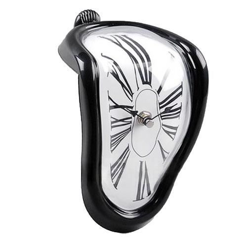 Roman Numeral Retro Art Novelty Distorted Timepiece Melting Quartz Irregular Clock (Black)