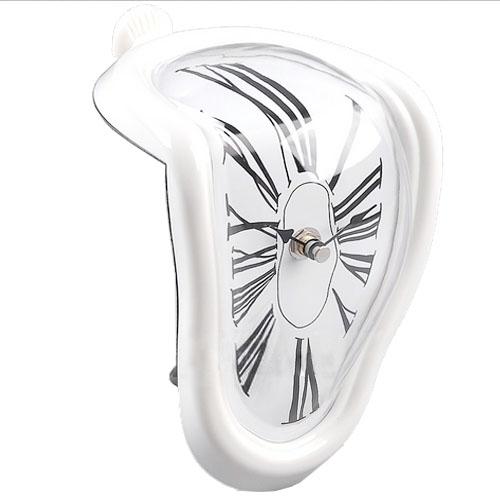 Roman Numeral Retro Art Novelty Distorted Timepiece Melting Quartz Irregular Clock (White)