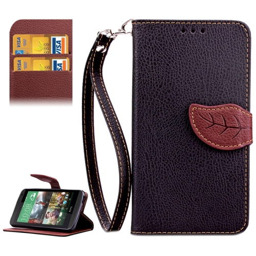 Leaf Magnetic Snap Litchi Texture Horizontal Flip Leather Case for HTC Desire 610 (Black)