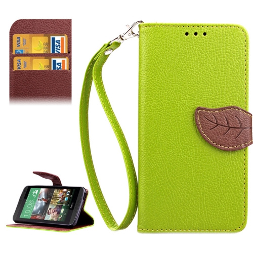 Leaf Magnetic Snap Litchi Texture Horizontal Flip Leather Case for HTC Desire 610 (Green)