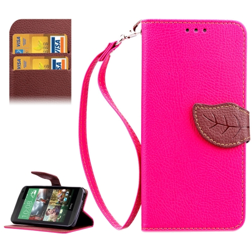 Leaf Magnetic Snap Litchi Texture Horizontal Flip Leather Case for HTC Desire 610 (Rose)