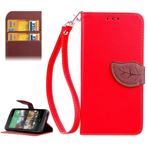 Leaf Magnetic Snap Litchi Texture Horizontal Flip Leather Case for HTC Desire 610 (Red)
