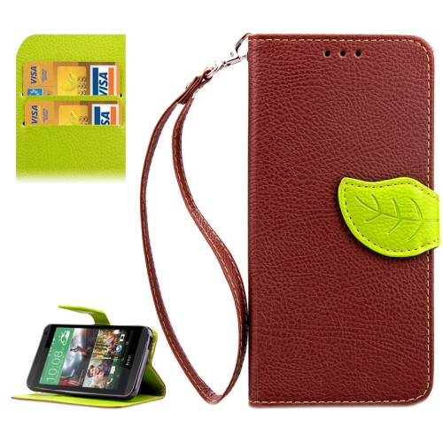 Leaf Magnetic Snap Litchi Texture Horizontal Flip Leather Case for HTC Desire 610 (Brown)