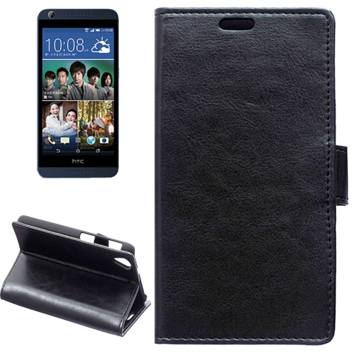 Crazy Horse Texture Horizontal Flip Solid Color Magnetic Buckle Leather Case for HTC Desire 626 (Black)