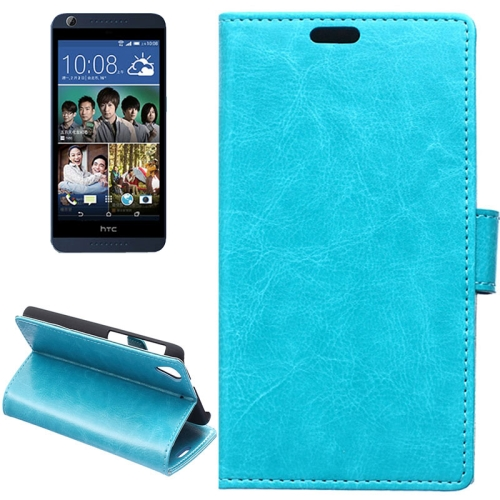 Crazy Horse Texture Horizontal Flip Solid Color Magnetic Buckle Leather Case for HTC Desire 626 (Blue)