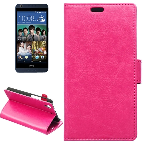 Crazy Horse Texture Horizontal Flip Solid Color Magnetic Buckle Leather Case for HTC Desire 626 (Rose)