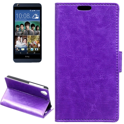 Crazy Horse Texture Horizontal Flip Solid Color Magnetic Buckle Leather Case for HTC Desire 626 (Purple)