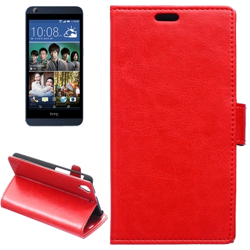 Crazy Horse Texture Horizontal Flip Solid Color Magnetic Buckle Leather Case for HTC Desire 626 (Red)