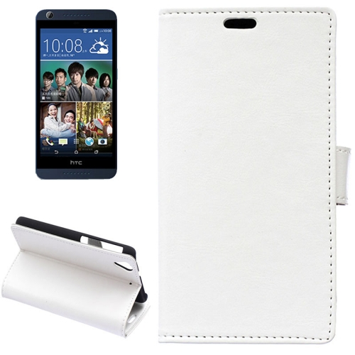 Crazy Horse Texture Horizontal Flip Solid Color Magnetic Buckle Leather Case for HTC Desire 626 (White)