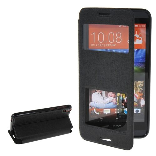Pure Color Flip Leather Case for HTC Desire 820 with Double Caller ID Display Window (Black)