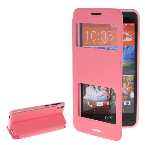 Pure Color Flip Leather Case for HTC Desire 820 with Double Caller ID Display Window (Pink)