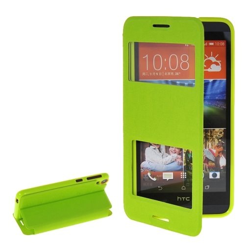 Pure Color Flip Leather Case for HTC Desire 820 with Double Caller ID Display Window (Green)