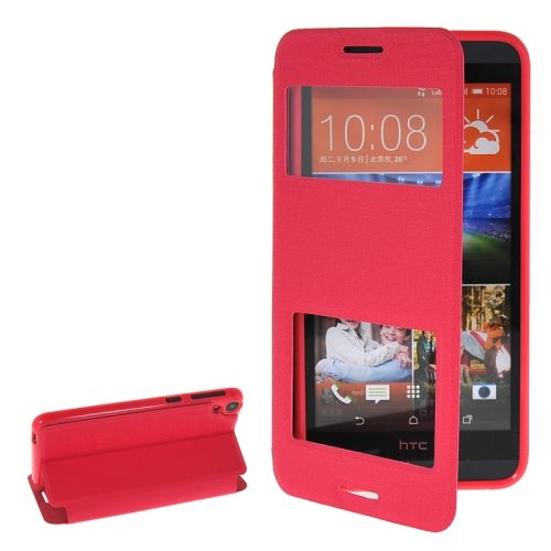 Pure Color Flip Leather Case for HTC Desire 820 with Double Caller ID Display Window (Rose)
