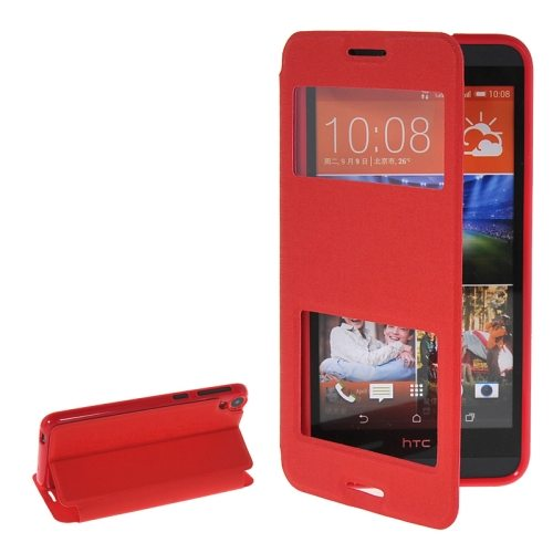 Pure Color Flip Leather Case for HTC Desire 820 with Double Caller ID Display Window (Red)