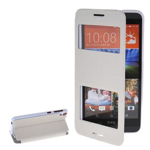 Pure Color Flip Leather Case for HTC Desire 820 with Double Caller ID Display Window (White)