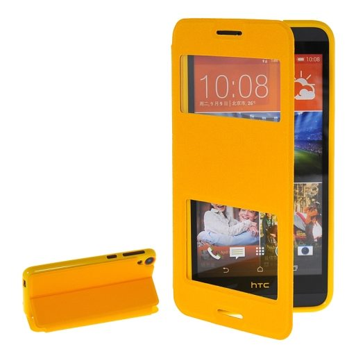 Pure Color Flip Leather Case for HTC Desire 820 with Double Caller ID Display Window (Yellow)