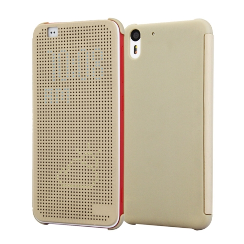 Dot View Design Hard PC Case for HTC Desire Eye with Sleep and Wake-up Function (Gold)