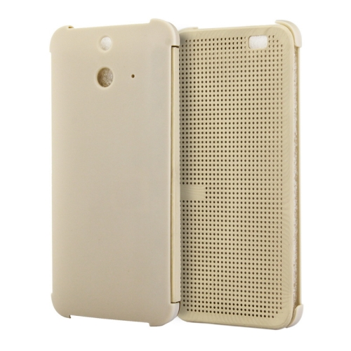 Dot View Design Hard PC Case for HTC One E8 with Sleep and Wake-up Function (Gold)