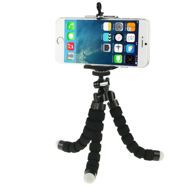 Flexible Octopus Mini Tripod for Mobile Phone and Digital Camera with Adjustable Holder (Black)
