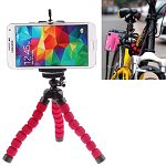 Flexible Octopus Mini Tripod for Mobile Phone and Digital Camera with Adjustable Holder (Red)