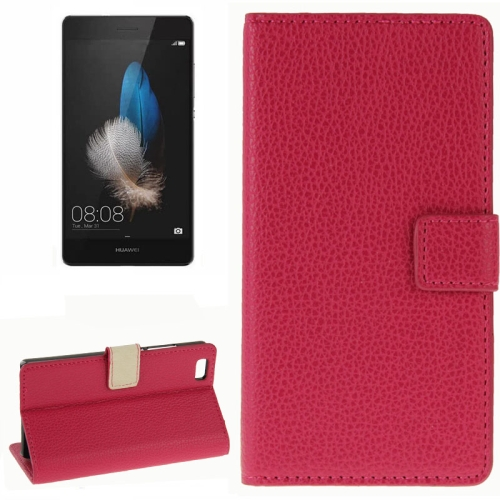 Litchi Texture Horizontal Wallet Style Flip Leather Case for Huawei P8 Lite with Card Slots and Holder (Magenta)