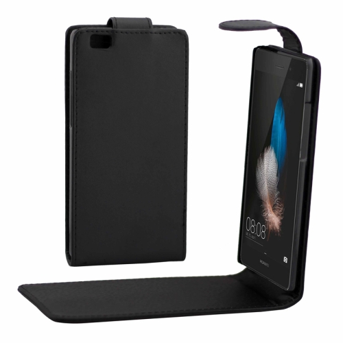 Vertical Flip Magnetic Button Leather Case for Huawei P8 Lite (Black)