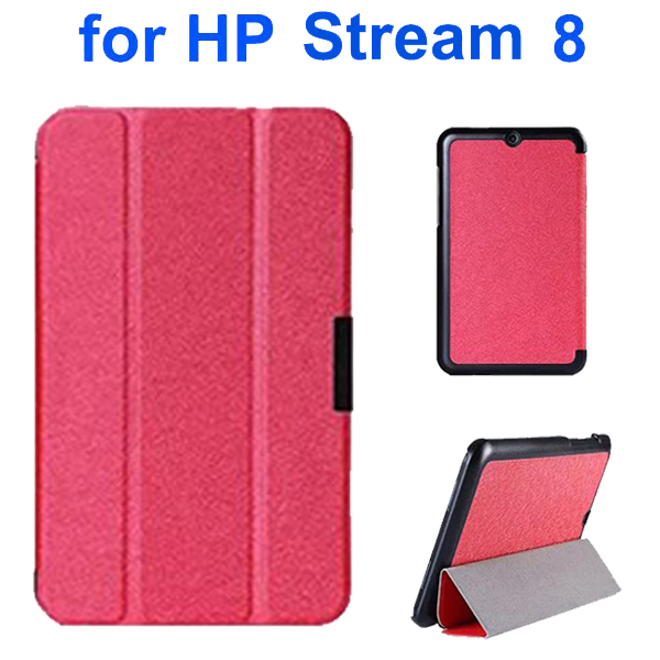 3 Folding Pattern Ultrathin Flip Leather Cover for HP Stream 8 (Red)