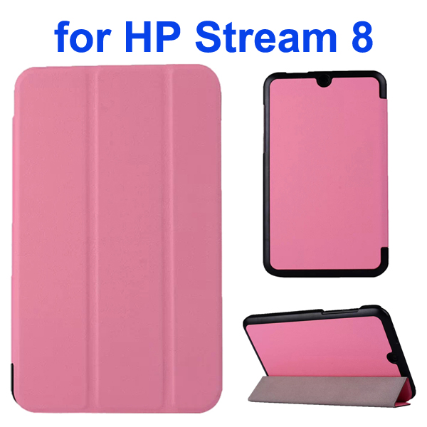 Karst Texture 3 Folding Folio Flip Leather Case Cover for HP Stream 8 (Pink)