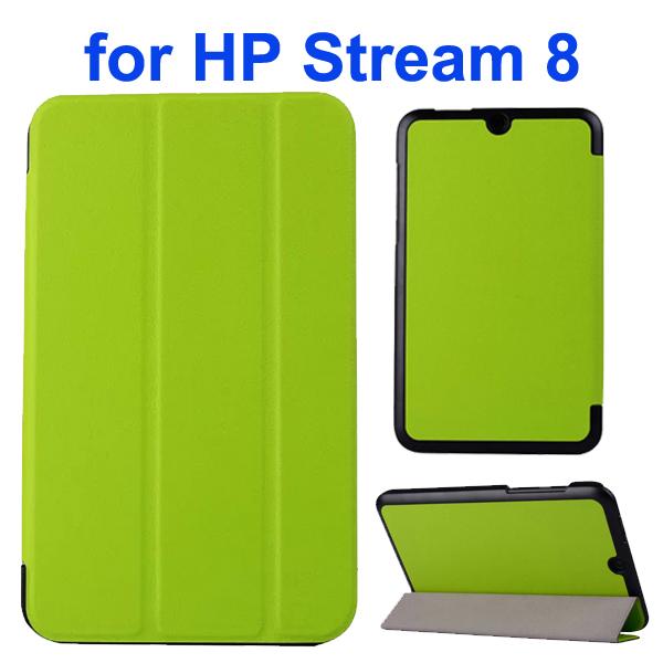 Karst Texture 3 Folding Folio Flip Leather Case Cover for HP Stream 8 (Green)
